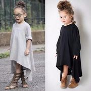 子供服 キッズ 女の子 不規則 ワンピース グレー ブラック 膝上 Tシャツ