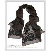 エレガントな刺繍風フラワー織柄入り100%シルクロングスカーフ 1783c