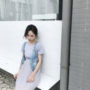 ファッション★2点セット★春夏★新しいデザイン★短袖★着やせ★プリーツ★シフォン★ワンピ