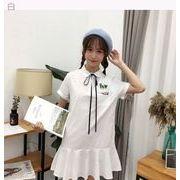 夏★韓国風★学生★かわいい★刺しゅう★ルース★レジャー★プリーツスカート★女★ひもあり★