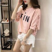 【大きいサイズM-4XL】ファッション/人気Tシャツ♪ピンク/ホワイト/ブラック3色展開◆