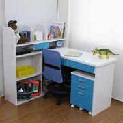 【完売・次回未定】学習机 3点セット ブルー&ホワイト STD-3 BL-WH