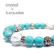 夏ブレス!! 天然石 ターコイズ 水晶 デザインブレスレット 《SION パワーストーン 天然石》