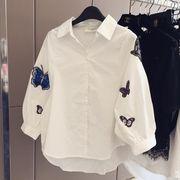 花柄刺繍ブラウス レディーストップス  ワイドボリューム袖 ふんわりパフスリーブ  カジュアルシャツ