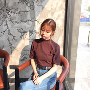 春夏★女性服★韓国風★単一色★半袖Tシャツ★シンプル★ベーシックデザイン★短いスタイル★