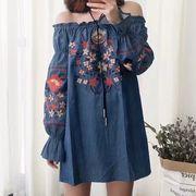 花柄刺繍ブラウス オフショルダー  チュニックトップス 柄物長袖プルオーバー レディースバルーン袖