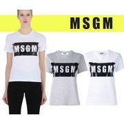 MSGM エムエスジーエム レディース ボックスロゴ Tシャツ T SHIRT W LOGO PANEL【2141MDM195】