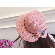 新作★手織り麦わら帽子★レディースUV対策★麦藁帽子