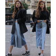 デニムスカート 切替 スプリット 韓国風 ブルー #82653