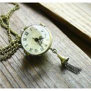 ■ネックレス時計■    アンティーク風 ガラス玉時計