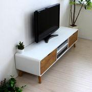 【完売・次回未定】テレビ台 ローボード 150cm幅 テレビボード 木製 ナチュラル&ホワイト SCAN-TV150NA-WH