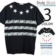 星刺繍ボーダークルーネックTシャツ/sb-255661