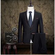 新作 上品ジャケット+パンツ2点セット セットアップ メンズスリムスーツ ビジネススーツ スリーピース