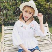 【即納】トップス ブラウス 刺繍 レディース ホワイト 白シャツ 七分袖 ワッペン
