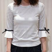【即納】トップス tシャツ カットソー ボーダー マリン レディース フリル袖 リボン