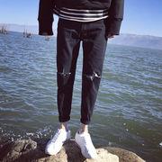膝の穴★男★ブラック★着やせ★ジーンズ★春服★韓国風★十代の若者★着やせ★フィート★ズボ