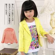 清楚なデザインが好印象♪無地 折襟 女の子 テーラードジャケット コート レース付き 長袖 ジャケット