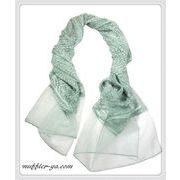 2色★二枚重ね縫い付け無地シースルーストール/スカーフ 92332