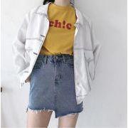 韓国風★夏★新しいデザイン★デニム★スカート★女★ハイウエスト★着やせ★A型スカート★学