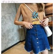 韓国風★デニム★スカートの女性★春夏季★新しいデザイン★着やせ★ハイウエスト★A型スカー