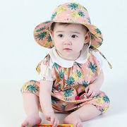 ベビー2点セット パインアップルロンパース キャップ ショルダーカバーオール オールインワン 赤ちゃん 2色