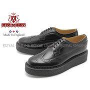 【ジョージコックス】 12508 ラバーソール シューズ 靴 ブローグ ブラック メンズ