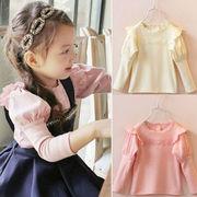 秋服 新しいデザイン 韓国風 女子供服 ボトムシャツ 児童 赤ちゃん レース 丸襟 長袖