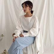 韓国 丸襟 パフ 気質 ルース 長袖 透かし 日焼け止めシャツ 女 秋 レジャー トップ
