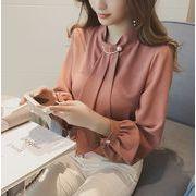 レディースシャツ  トップス ブラウス シンプル 長袖 シフォン 胸元パールタイ 通勤OLカジュアル 全4色