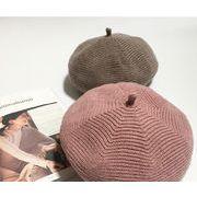 ★新品登場★シンプル無地 帽子 ベレー帽 レディース帽子 小顔効果 秋冬向け 7色