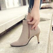 秋冬 新しいデザイン 細いヒール ヒント 女性靴 T-ストラップ 女性ブーツ 包帯 ハイ