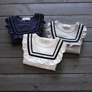 キッズ洋服 秋 新しいデザイン 女児 海軍風 長袖Tシャツ フリル 人形