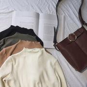 初秋 新しいデザイン 女性服 ストレッチ スレッド 着やせ 着やせ 単一色 ハーフハイト