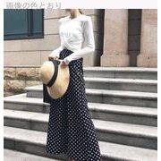 韓国 秋 何でも似合う ファッション ポルカドット ワイドパンツ カジュアルパンツ ルー