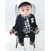 秋服 新しいデザイン 男児 ジッパー 児童 レジャー アウターウェア 赤ちゃん ブラック
