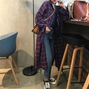 韓国風 新しいデザイン アンティーク調 コットン シャツ 女 秋服 何でも似合う 中長デ