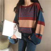秋冬 女性服 韓国風 ルース ストライプス ヘッジ セーター 長袖セーター トップス