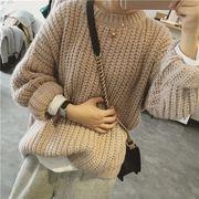 韓国風 ルース ヘッジ アンティーク調 BF カレッジ風 長袖 セーターの女性 秋 ニッ