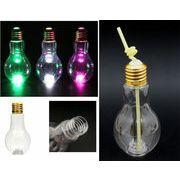 「光る」LED電球ボトル500ml(ストロー付き)