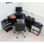コーナーデスク 高級ブラック鏡面 ハイタイプ デスク3点セットFM144BK