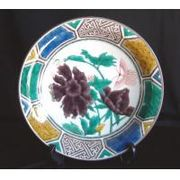 8370 牡丹蝶文様尺飾皿