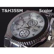 T&Hメンズ腕時計 メタルウォッチ 日本製ムーブメント クロノデザイン