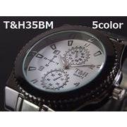 T&Hメンズ腕時計 メタルウォッチ ガンメタ 日本製ムーブメント クロノデザイン