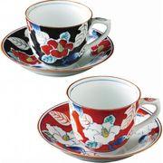 【代引不可】 伊万里焼 色彩山茶花 ペアコーヒー碗皿 マグ(ビーカー)