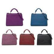 フェイクレザーハンドバッグ 紫/浅ピンク/濃赤/青/黒色