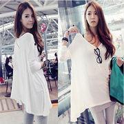 /韓国ファッション/レディース/ビッグサイズ長袖ロングスタイルtシャツ /おしゃれな不規則裾 ♪