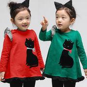 格安!!NEW★子供★女児★猫★フリル★レース★ミニ・スカート★ワンピ★ロング・シャツ