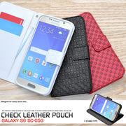 <スマホ・ギャラクシーS6>Galaxy S6 SC-05G用市松模様デザインスタンドケースポーチ