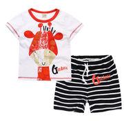 格安!!NEW★子供★幼児★動物★ジラフ★ボーダー柄★ショートパンツ★Tシャツ+半ズボン
