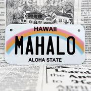 好きな文字にできるアメリカナンバープレート(小・自転車用サイズ)ハワイ・レインボー